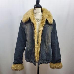 giacca Faux Fur Lined Denim Jacket XL